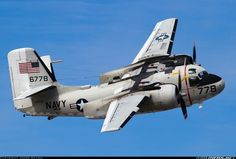 """Grumman C-1A Trader. Introduced in 1952. Carrier on board delivery (COD) derived fom the S2F tracker. This airplane is part of VRC-40 Fleet Logistics Support """"Rawhides"""".  Retired 1988. Replaced  by the C-2 Greyhound."""