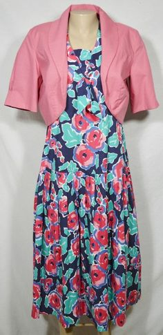 LAURA ASHLEY Blue/Red/Pink/White Floral Dress 12 Matching Pink Open Jacket UK #LauraAshley #TeaDress #Casual