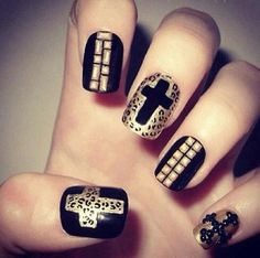 cross nail design, love love, wish there was salons here that can do things like this(;