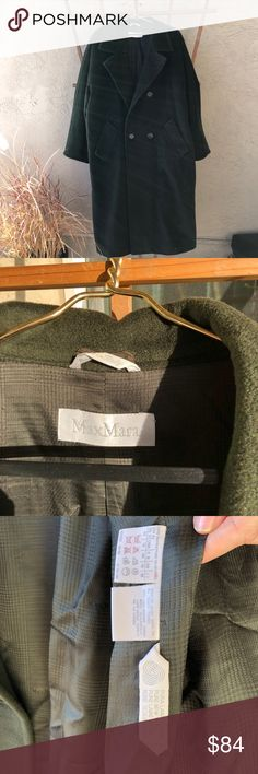 Olive green maxmara wool coat Tag shows US size 14, looks cool on several sizes smaller as well as a kind of loose look or as a unisex coat.  Great condition, it is an olive green color, first picture makes it look a bit darker than it is. Great for those cold winters. MaxMara Jackets & Coats