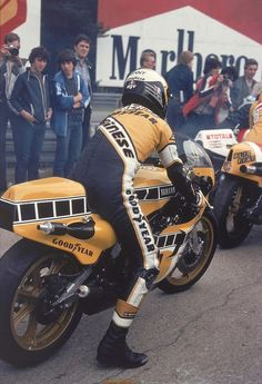 """:Kenny Roberts. Met him when walking the dirt track at the OKC fairgrounds. Several times World Champion on Yamahas. This is the nearly uncontrollable machine he rode in GPs. He said """"They don't pay me enough to ride that thing!"""""""