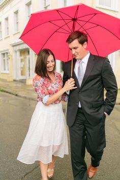 french quarter rainy day engagement photos