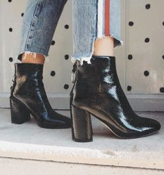 Black boots with cute cuffed jeans