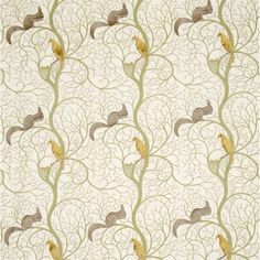 Sanderson Squirrel and Dove Sage/Neutral textil - Paisley Home Vintage Fabrics, Vintage Prints, Sanderson Fabric, Garden Cushions, Painted Rug, Embroidery Fabric, Fabric Wallpaper, Funky Wallpaper, Curtains With Blinds