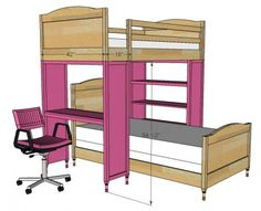 I want to make this!  DIY Furniture Plan from Ana-White.com  Free furniture plans for a desk or bookshelf designed to support a top bunk. This project plan can be used to create twin over twin bunks, set perpendicular. Bookshelf features three shelves, desk features one desk height shelf. The desk is a perfect spot for homework - store bedtime books within reach in the bookshelf.vma.