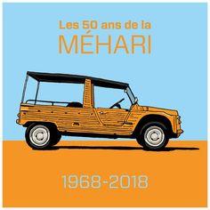 Les 50 ans de la Méhari! #citroen #mehari #citroenmehari #orangekirghiz Retro Cars, Vintage Cars, Yamaha 250, Beach Cars, Citroen Car, Veteran Car, Holiday Travel, Cars And Motorcycles, Transportation