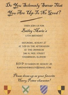 Printable Birthday Invitation Hogwarts Letter Harry Potter Inspired