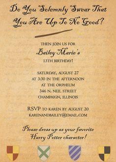 Printable Birthday Invitation Hogwarts Letter Harry Potter