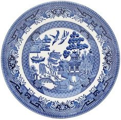 "Churchill Blue Willow Plate 6.5"" (Set of 6) by Churchill China (England). $56.65. Dishwasher & Microwave Safe. Made in England. The Legend of Blue willow is depicted on this classic collection. Shape: Mint. Originally hand engraved in the 19th century onto copper plates. Material: Earthenware"
