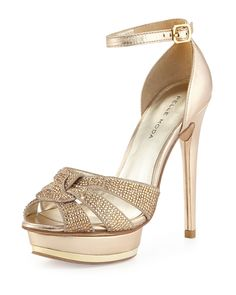 "Pelle Moda Ava Jeweled Metallic Leather and Suede Peep Toe Sandal Platinum Gold 10 in Gold 5"" covered heel; 1"" platform"