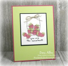 Stampin' Up! Fruit Basket - A sweet Simple Sunday card featuring the Fruit Basket stamp set with coordinating (and bundled!) Itty Bitty Fruit Punch Pack. And don't forget the yummy Tutti-frutti 6x6 DSP!