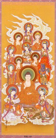 The 13 Buddhas : 1. Acalanatha Luminous King 2. Sakyamuni Buddha 3. Manjusri Bodhisattva 4. Samantabhadra Bodhisattva 5. Ksitigarbha Bodhisattva 6. Maitreya Bodhisattva 7. Bhaisajya-guru Buddha 8. Avalokitesvara Bodhisattva 9. Mahastamaprapta Bodhisattva 10. Amitabha Buddha 11. Aksobhya Buddha 12. Vairocana Buddha 13. Akasagarbha Bodhisattva These are deities of the Japan Shingon sect.