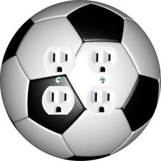 Soccer Decora Duplex Outlet cover. Round Shape, Made in USA