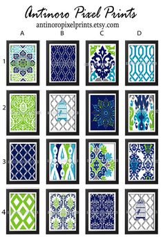 Turquoise Navy Chartreuse Grey  Damask Art Print  - Set of Any (4) 11 x 14 Unframed Art Print, Custom Colors Sizes Available