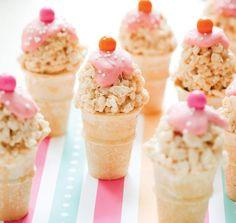 """Rice Crispy Treat """"Ice Cream"""" Cones!"""