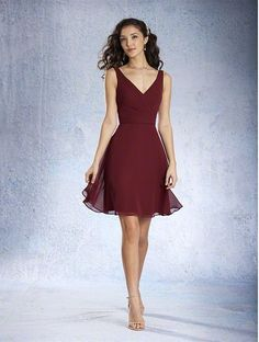 Short Burgundy Bridesmaid Dress - 20 Most Popular Red Bridesmaid Dresses for Different Shapes - EverAfterGuide