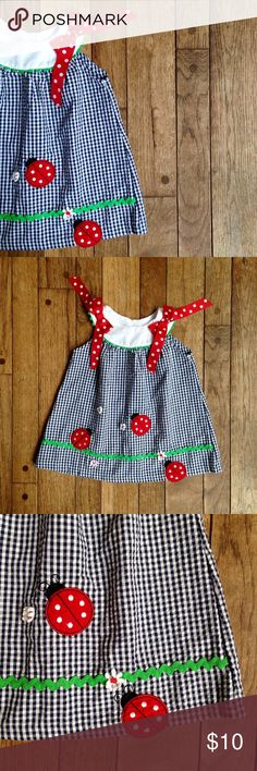 Navy blue gingham sun dress w/ladybug appliqué SO sweet!  Navy blue & white gingham sundress.  Cute details include: ladybug & flower appliqués, green rick rack trim, and red polka fitted bows at the shoulders.  Cotton/polyester blend. Rare Editions Dresses Casual