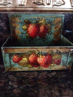 Peter Ompir Antique Strawberries Blue Matchholder