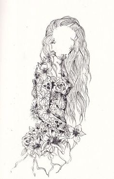 Pen art i form of shape of a women. Looks elegant with using lines and certain shapes of flowers on the body part.