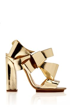 Shop Metallic-Leather Bow-Detail Sandals by Delpozo Now Available on Moda Operandi