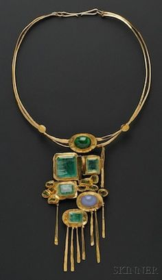 Necklace by Miye Matsukata, Janiye, c. 1978, of 24k  18k gold, emeralds, peridot, and blue chalcedony