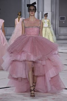 Giambattista Valli's couture collection was spiked here and there with rock-chick flourishes. [Photo by Giovanni Giannoni]