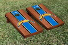 San Diego Chargers NFL Football Cornhole Game Set Rosewood Stained Stripe Version 2
