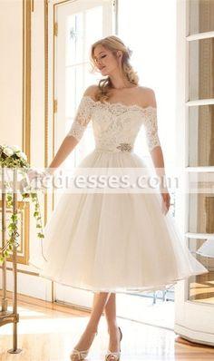 Lace Wedding Dresses 2016 Graceful Boat Neck Tea-length A-line Wedding Gown Short Wedding Dresses Half Sleeve Bridal Gown