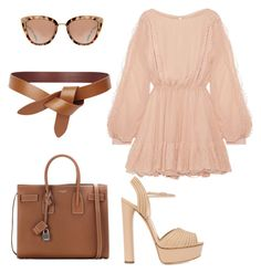 """Untitled #411"" by anamlopes on Polyvore featuring LoveShackFancy, Casadei and Yves Saint Laurent"