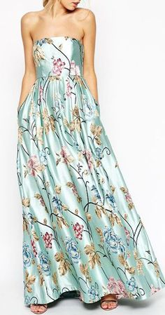 ASOS SALON Premium Beautiful Floral Jacquard Bandeau Maxi Dress