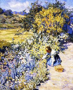 Gathering Flowers, Oil On Canvas by Helen Galloway Mcnicoll (1879-1915, Canada)
