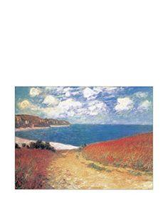 """es.buyvip.com  Reproducción de """"Camino a través del maíz"""" de Monet, realizado por artesanos italianos en el cumplimiento de los derechos de autor. Soporte: MDF, tablones de madera en las que se aplican a las impresiones, barniz que le da protección, brillo y apariencia a los detalles de la imagen. Bordes negros. 55Eur"""