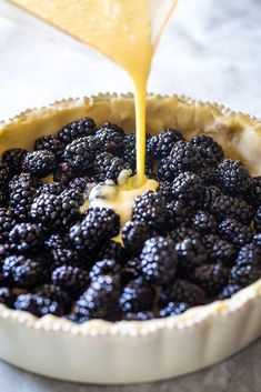 This Blackberry Custard Pie is creamy and SO delicious. It's filled with fresh, tart blackberries and sweet custard. Blackberry Dessert Recipes, Fruit Recipes, Baking Recipes, Sweet Recipes, Easy Blackberry Pie, Blackberry Pie Fillings, Easy Recipes, Köstliche Desserts, Plated Desserts