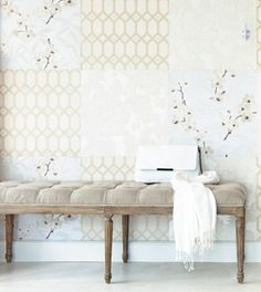 Patchwork wallpaper - cut large squares out of 3 different wallpapers and combine. #DIY #home