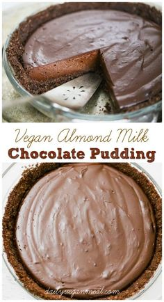 When we want something chocolatey this super easy Vegan Chocolate Pudding is quick and satisfying beyond belief. Ready in 10 minutes and uses almond milk Eggless dairyfree yummy Dessert Sans Gluten, Vegan Dessert Recipes, Dairy Free Recipes, Gluten Free, Paleo Recipes, Cooking Recipes, Vegan Pie, Vegan Foods, Vegan Dishes