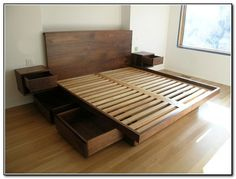 diy platform bed with storage drawers plans | Quick Woodworking Projects