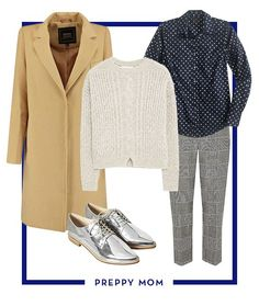 """Chic Winter Outfits For Every Mom - If preppy and polished is your go-to style try the collared shirt and sweater combo, which never fails to exude """"put-together."""" Drape a classic camel coat over the shoulders and complete the outfit with metallic oxfords for a flash of fun."""