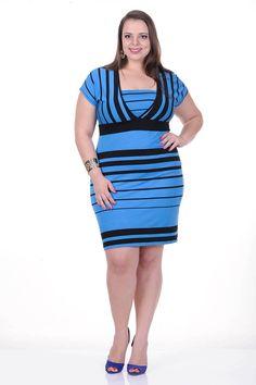 Moda feminina plus size   81793 Vestido listrado em viscose