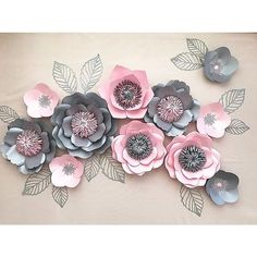 Pink and grey paper flowers 🌸 - - Paper Flowers Craft, How To Make Paper Flowers, Large Paper Flowers, Paper Flowers Wedding, Paper Flower Wall, Paper Flower Backdrop, Giant Paper Flowers, Flower Crafts, Diy Flowers