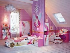 Beautiful Girls Bedroom Ideas for Small Rooms (Teenage Bedroom Ideas), Teenage and Girls Bedroom Ideas for Small Rooms, Pink Colors, Girls Room Paint Ideas with Beds Wall Art