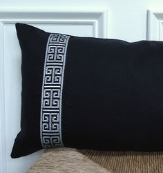 Black and white greek key trim on a black linen pillow cover - 12 x 22 by drkdesigns on Etsy