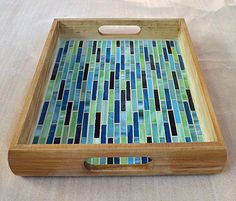 "Handmade Glass Mosaic Serving Tray Handmade glass mosaic serving tray with fine mosaic design. Dimensions: 13 x 9 ""x … Mosaic Tray, Mosaic Tiles, Mosaic Crafts, Mosaic Projects, Mosaic Designs, Mosaic Patterns, Home Trends, Cool Paintings, Wall Design"
