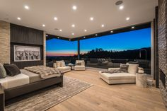Multi-million home on the hills of Los Angeles has panoramic views by FINA Construction Group - CAANdesign Home Theater Lighting, Construction Group, Bedroom Retreat, Master Bedroom, Luxury Rooms, Home Cinemas, Awesome Bedrooms, Contemporary Bedroom, House Design