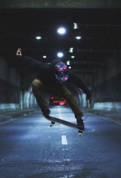skateboarding in a tunnel