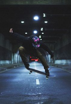 skateboarding in a tunnel