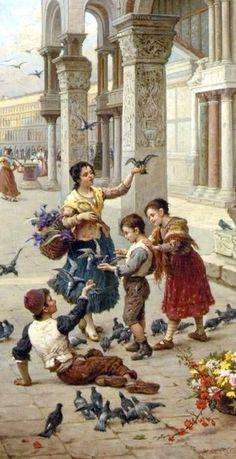 Antonio Ermolao Paoletti - Feeding the Pigeons at Piazza San Marco