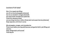 Jim Bob and Mae Recipe of the Day    Louisiana Fruit Salad    http://www.dailyrecipedoctor.com