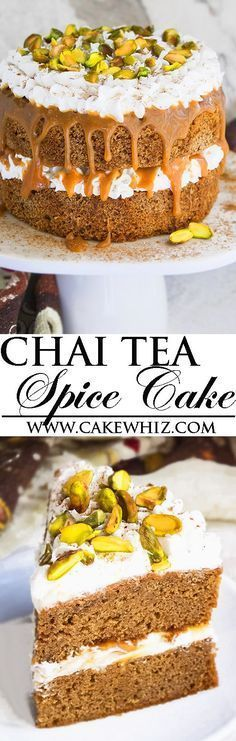 This easy CHAI TEA SPICE CAKE with buttercream frosting, caramel sauce and pistachios is the perfect Fall and Thanksgiving dessert. This chai tea latte cake is packed with spices and each bite is so soft and moist!