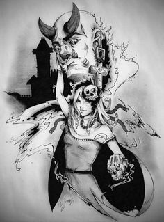 Alessio Schirinzi - The demon and the necromancer - Halloween 2015 - illustration - #inktober #inktober2015 #inktobersonsy #massoneriacreativa - www.massoneriacreativa.com