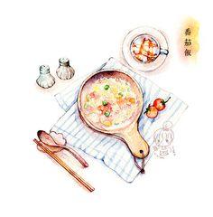懒人饭~食物能填饱你的肚子~更能治愈你的孤独~-小麦鱼_水彩,手绘,插画,美食,治愈,小清新_涂鸦王国插画